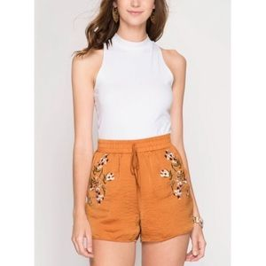 Embroidered Satin Shorts